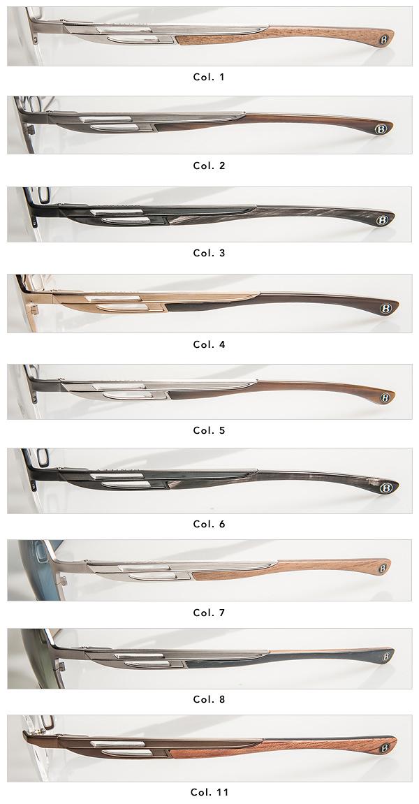 Bügel-Farb- und Matrialvariationen der Brillenkollektion Bentley Eyewear